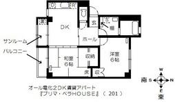 鯖江市定次町の2DK賃貸「プリマ・ベラHOUSE」201号の間取りです