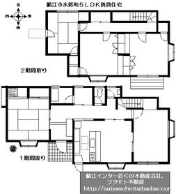 鯖江市水落町の5LDK賃貸住宅の間取りです